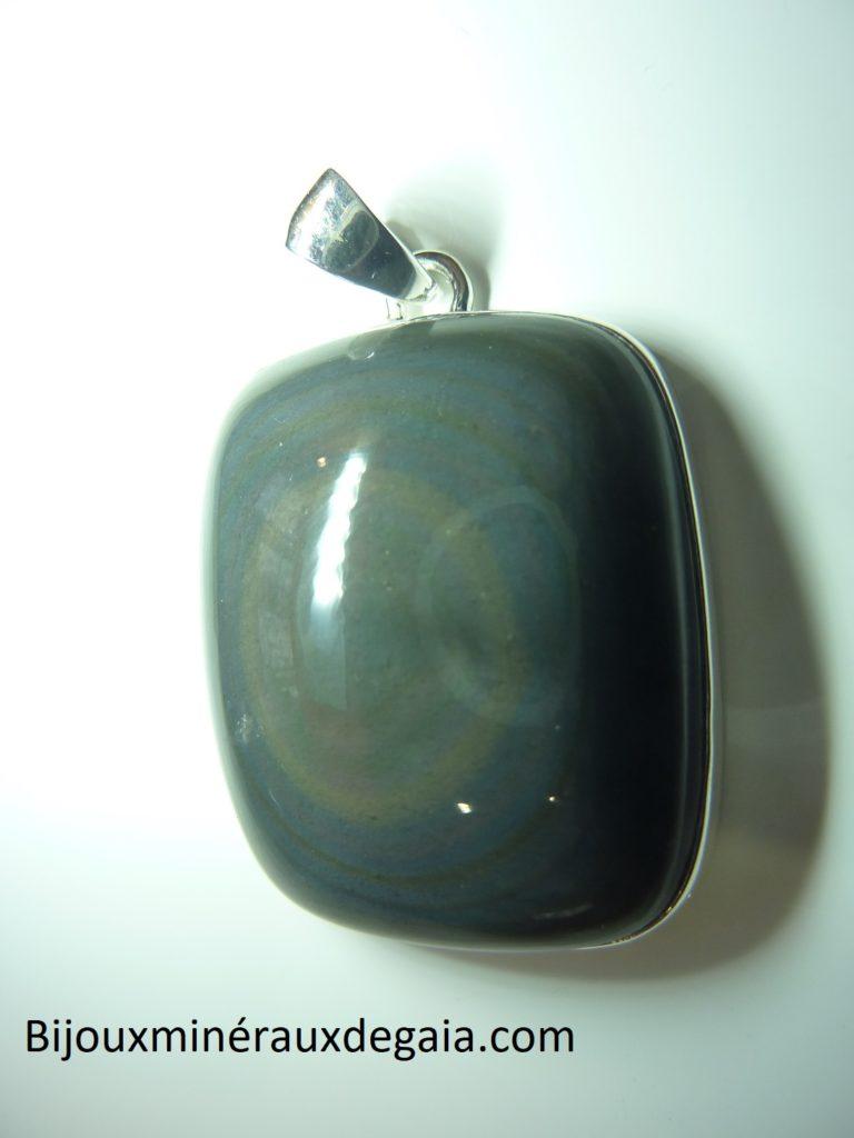 Pendentif Obsidienne oeil céleste monture argent 925 ref 9661