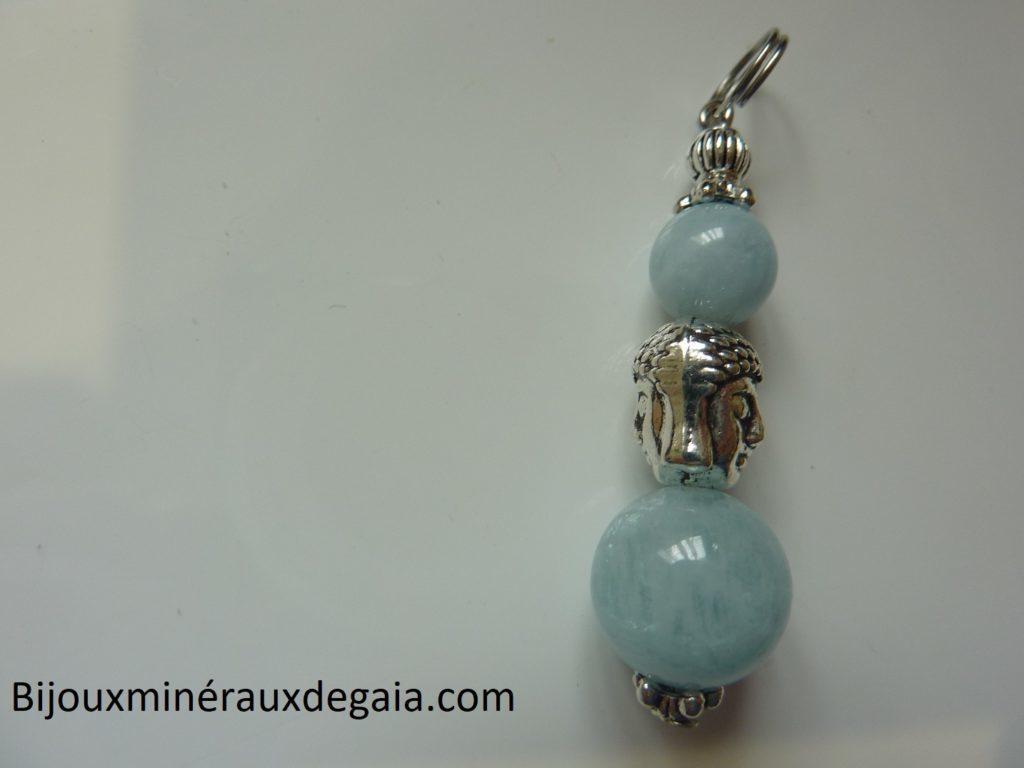 Pendentif aigue marine Bouddha - perle rondes 12-8 mm