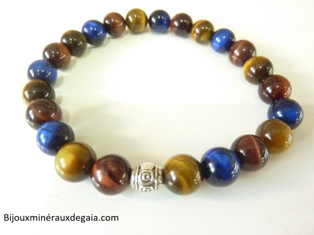 Bracelet protection Oeil de tigre-oeil de Faucon-oeil de Taureau - Perles rondes 8 mm