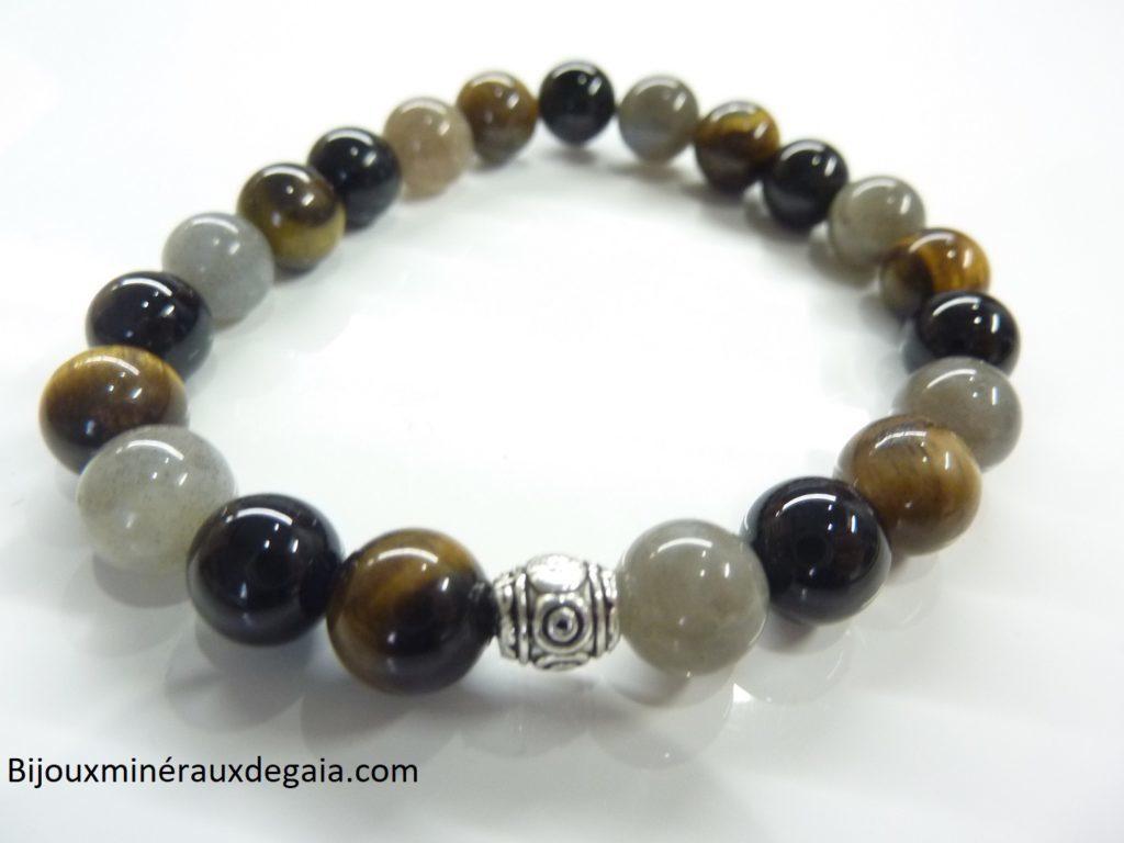 Bracelet protection Oeil de tigre-Labradorite-Tourmaline noire-perles rondes 8 mm