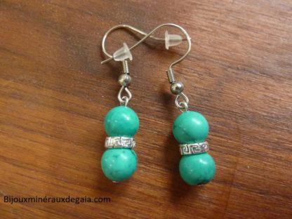 Boucles d'oreilles Turquoise - perles rondes 7,5 mm