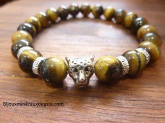 Bracelet Oeil de tigre perles rondes 8 mm