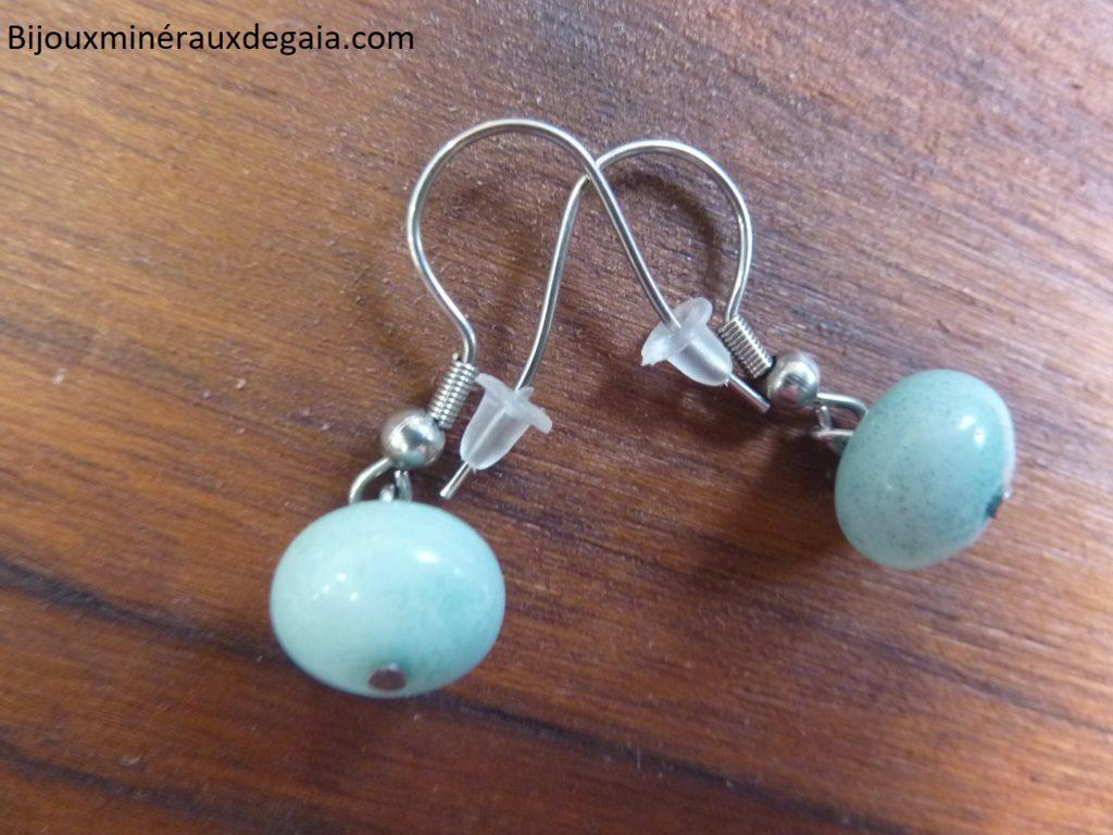 Boucles d'oreilles Amazonite perles 10 x 7 mm