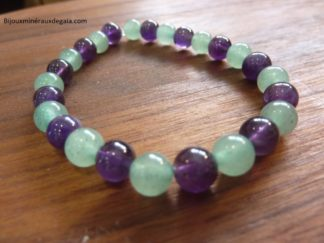 Bracelet Améthyste-Aventurine verte perles rondes 6 mm
