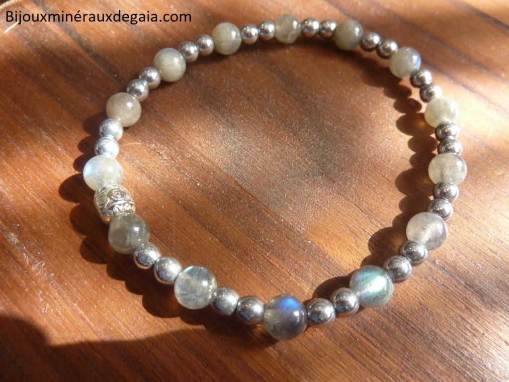 Bracelet Hématite-Labradorite perles rondes 6-4 mm