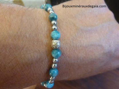 Bracelet Apatite-Hématite-perles rondes 6-4 mm