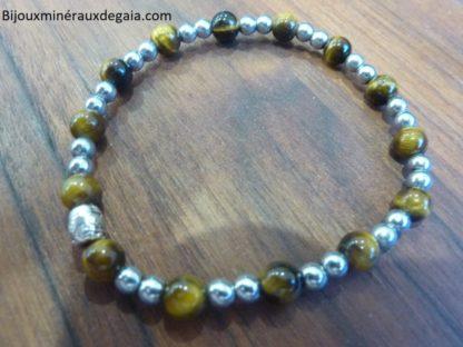 Bracelet Oeil de tigre-Hématite perles rondes 6-4 mm
