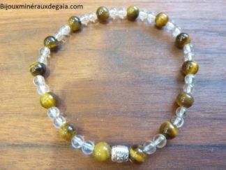 Bracelet quartz cristal de roche-Oeil de tigre-Perles rondes 6-4 mm