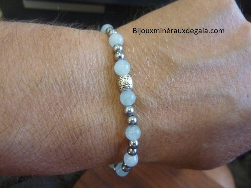 Bracelet aigue marine-hématite - Perles rondes 6-4 mm