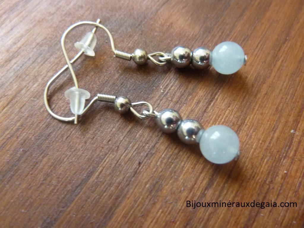 Boucles d'oreilles aigue marine-hématite - Perles rondes 6-4 mm