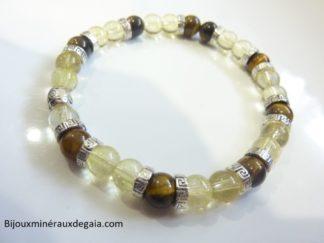 Bracelet Oeil de tigre-citrine perles rondes 6 mm