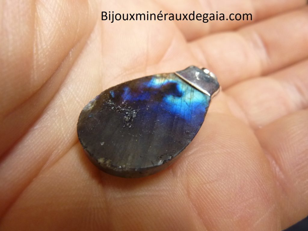 Pendentif Labradorite-Améthyste Monture argent 925 ref 1239