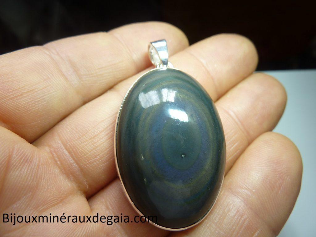 Pendentif obsidienne oeil celeste monture argent 925 r 3906