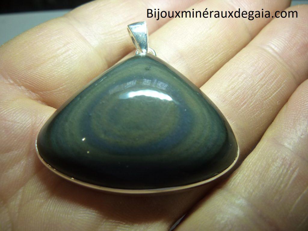Pendentif obsidienne oeil celeste monture argent 925 r 6574
