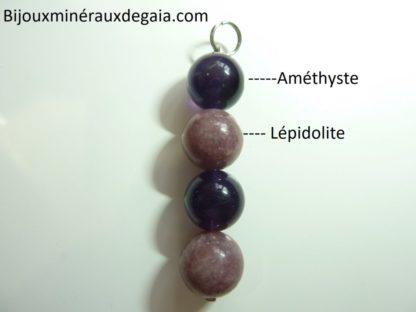 Pendentif Lépidolite-Améthyste perles rondes 12 mm