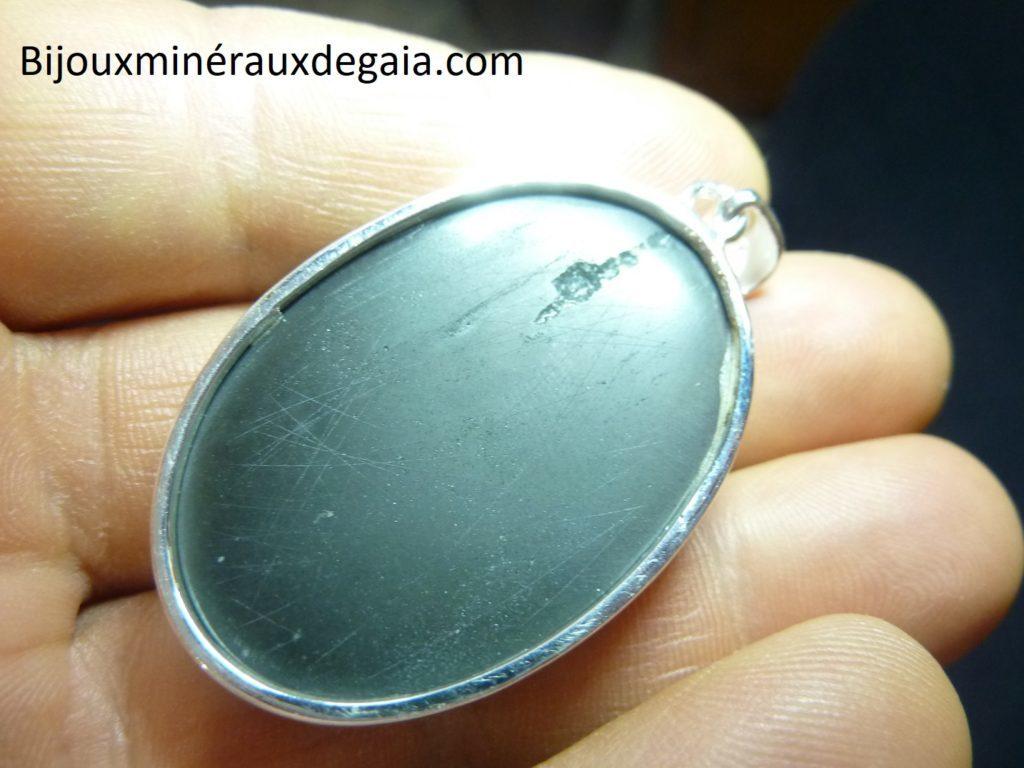 Pendentif obsidienne oeil celeste monture argent 925 r 1916