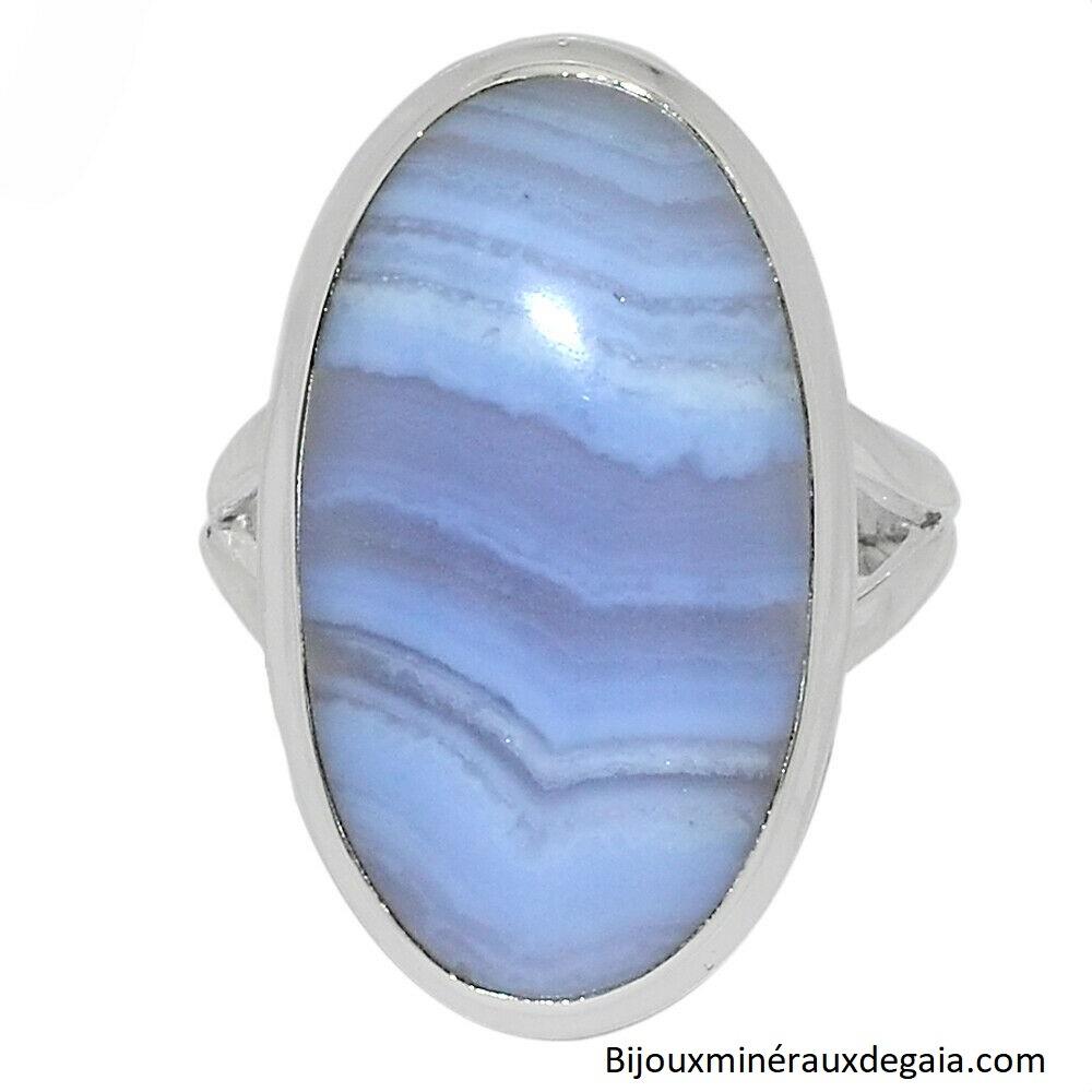 Bague calcédoine bleu monture argent 925 taille 57 ref 9392