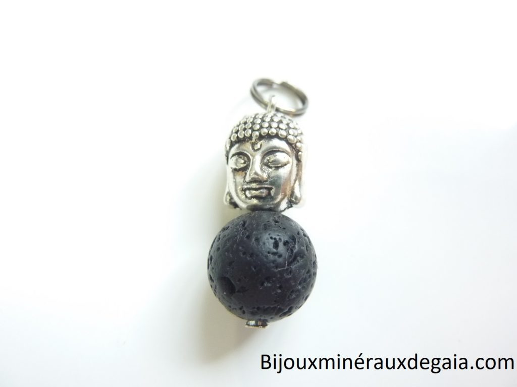 Pendentif Pierre de lave Bouddha-Perle ronde 10 mm