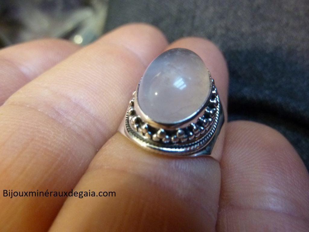Bague quartz rose monture argent 925 taille 55 1/4 ref 5034