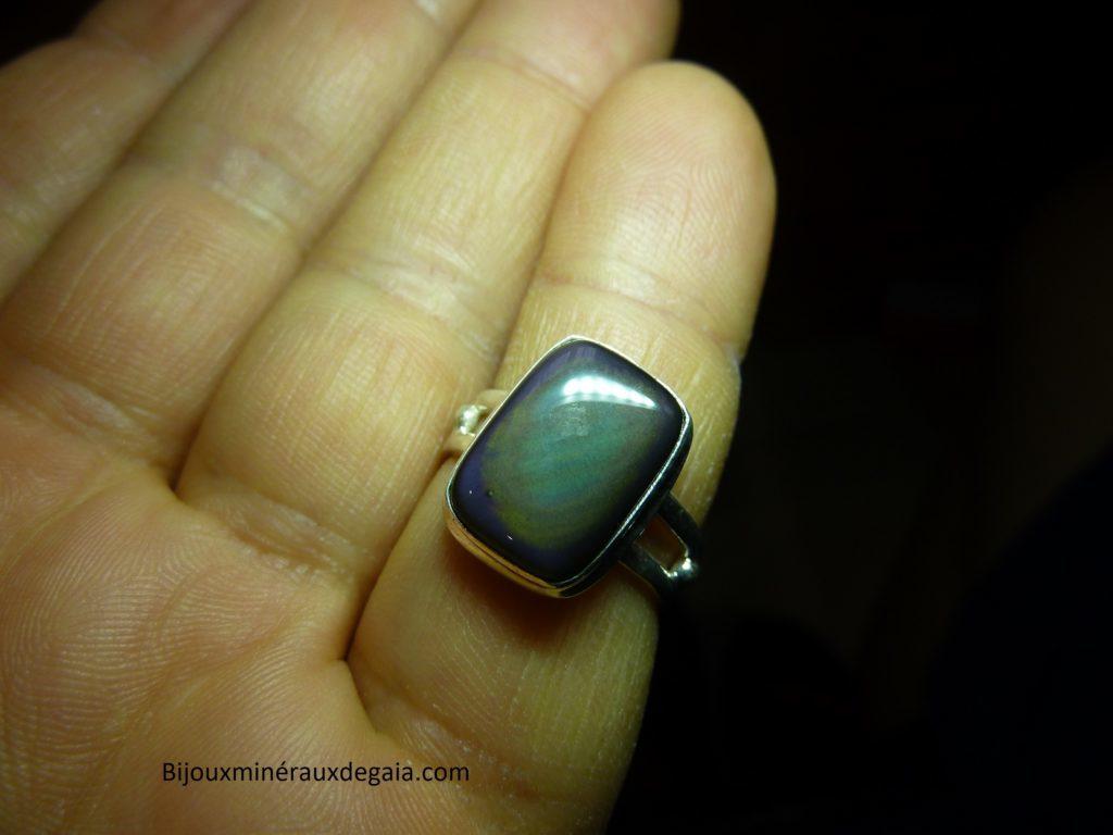 Bague obsidienne oeil céleste argent 925 taille 55 1/4 ref 7098