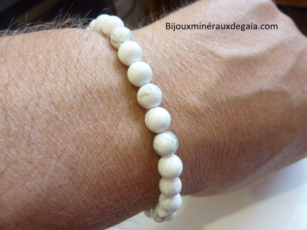Bracelet Howlite - Perles rondes 6 mm