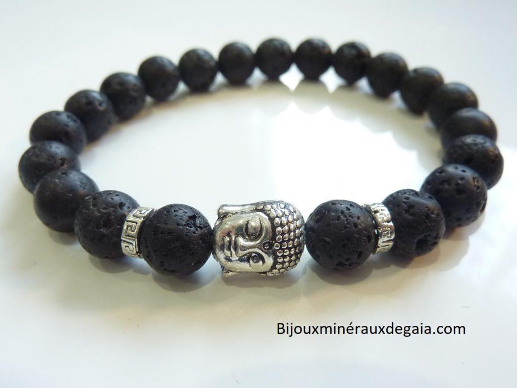 Bracelet Pierre de lave Bouddha-Perles rondes 8 mm