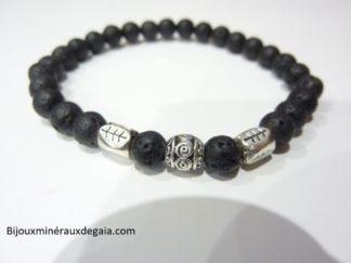 Bracelet Pierre de lave-Perles rondes 6 mm