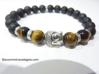 Bracelet Pierre de lave-oeil de tigre-Perles rondes 8 mm