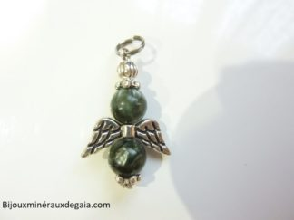 Pendentif Séraphinite ange - perles rondes 8 mm
