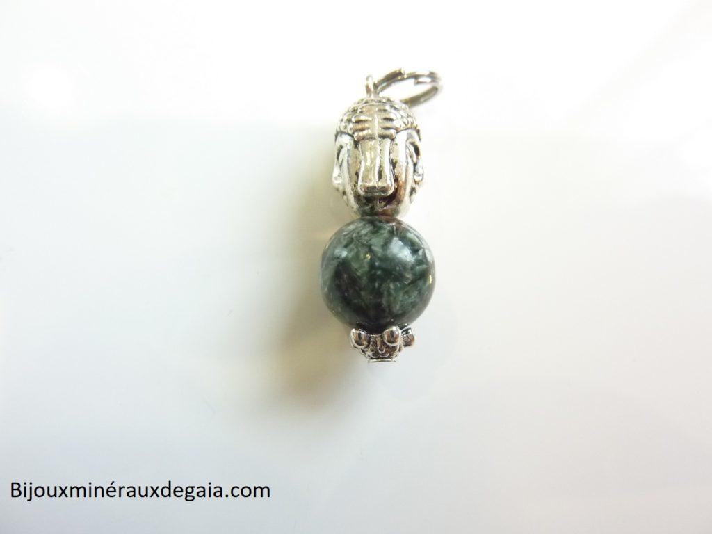 Pendentif Séraphinite Bouddha – perles rondes 10 mm