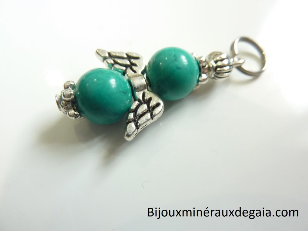 Pendentif Turquoise ange - Perles rondes 8 mm