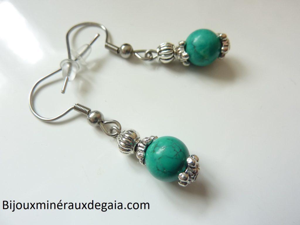 Boucles d'oreilles Turquoise - Perles rondes 8 mm