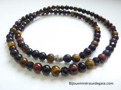 Bracelet-Collier Oeil de taureau-Spinelle noir-Oeil de tigre-Obsidienne oeil céleste