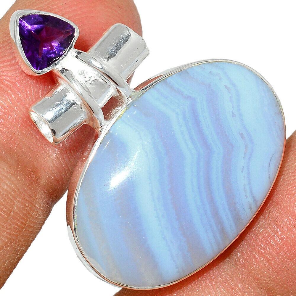 Pendentif calcédoine bleu-Améthyste monture argent 925 ref 1531