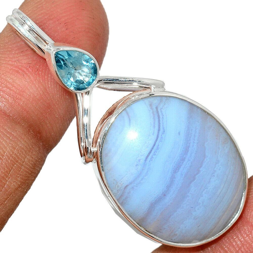 Pendentif calcédoine bleu-Topaze bleue monture argent 925 ref 0722