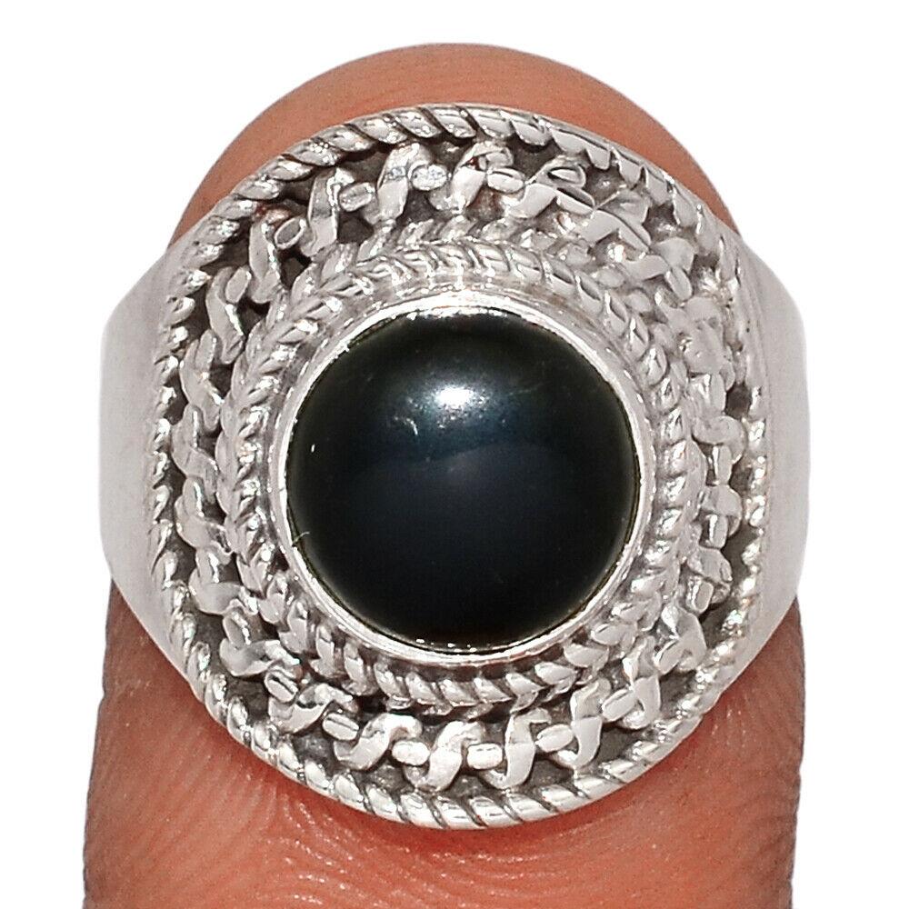 Bague protection obsidienne noire argent 925 taille 55 1/4 ref 4155