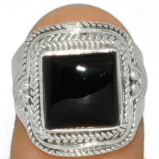 Bague obsidienne noire argent 925 taille 54 ref 6319