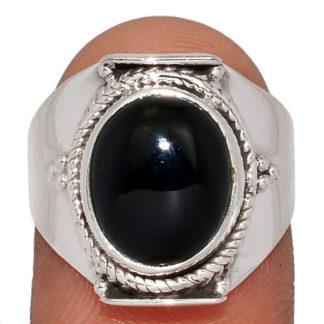Bague obsidienne noire argent 925 taille 56 1/2 ref 1665