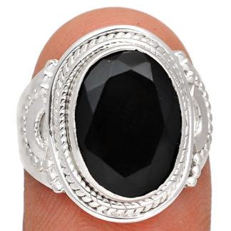 Bague obsidienne noire argent 925 taille 56 1/2 ref 6077