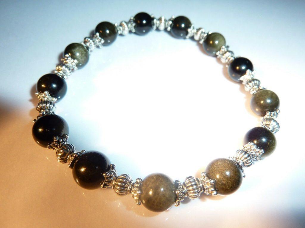 Bracelet Obsidienne dorée Perles rondes 8 mm