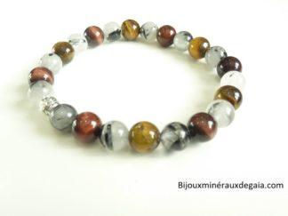Bracelet Quartz tourmaliné-Oeil de tigre-oeil de taureau Perles rondes 8 mm