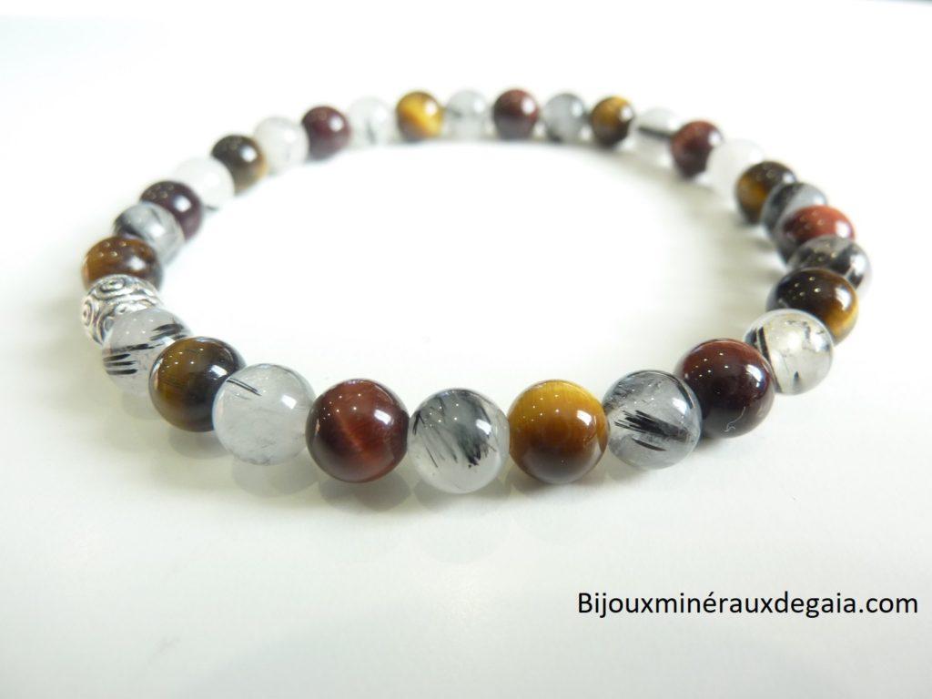 Bracelet Quartz tourmaliné-Oeil de tigre-oeil de taureau Perles rondes 6 mm
