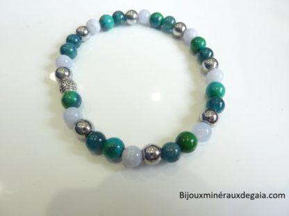 Bracelet Apatite-Hématite-chrysocolle-calcédoine bleue perles rondes 6 mm