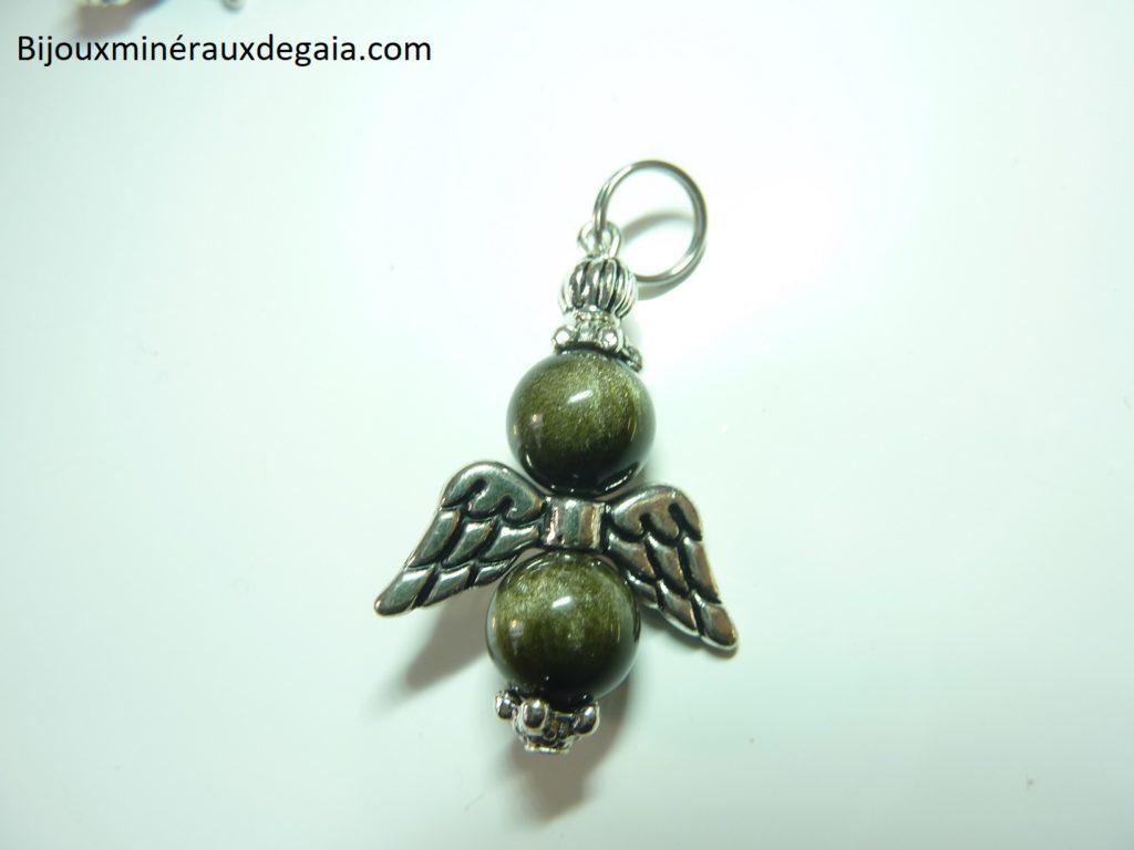 Pendentif Obsidienne dorée ange Perles rondes 8 mm