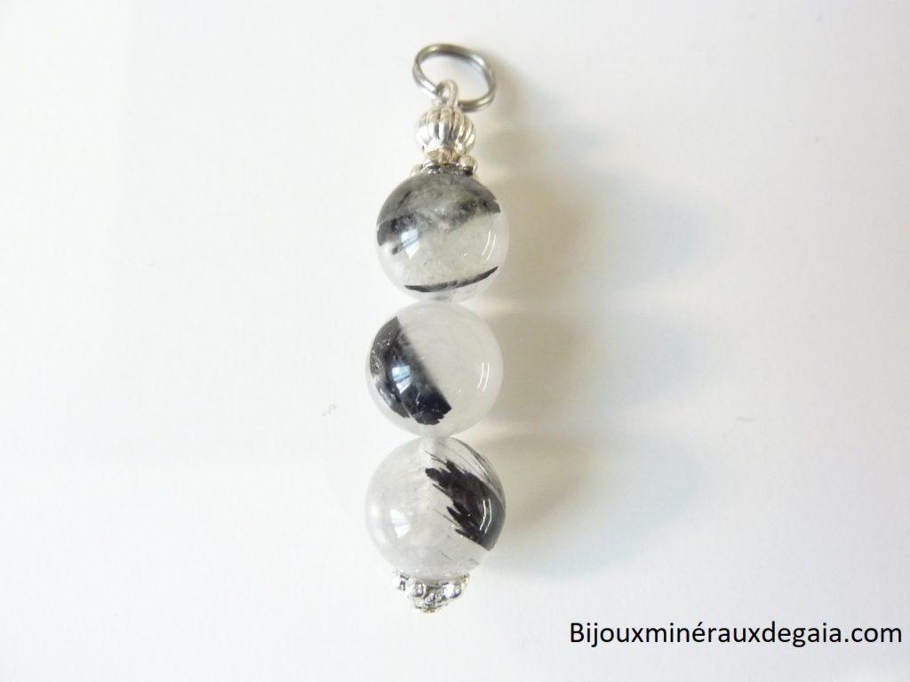 Pendentif Quartz tourmaliné -perles rondes 10 mm
