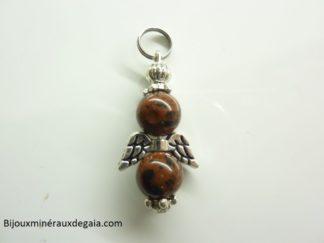 Pendentif obsidienne Acajou ange perles 8 mm