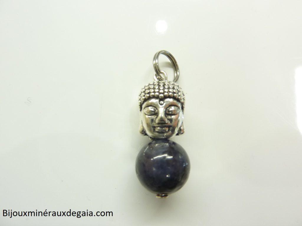 Pendentif Iolite cordiérite Bouddha - Perle ronde 10 mm