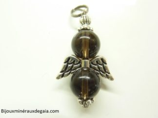 Pendentif quartz fumé Ange - Perles rondes 10 mm