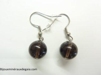 Boucles d'oreilles quartz fumé - Perles rondes 12 mm