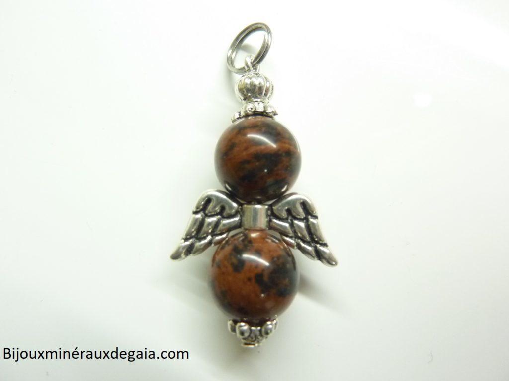 Pendentif obsidienne Acajou ange perles 10 mm